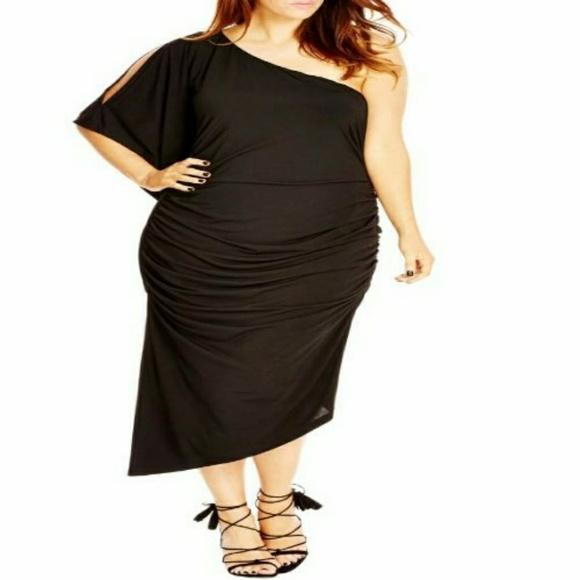 b7b3d3119ed9b City Chic Black Drama  One-Shoulder Midi Dress